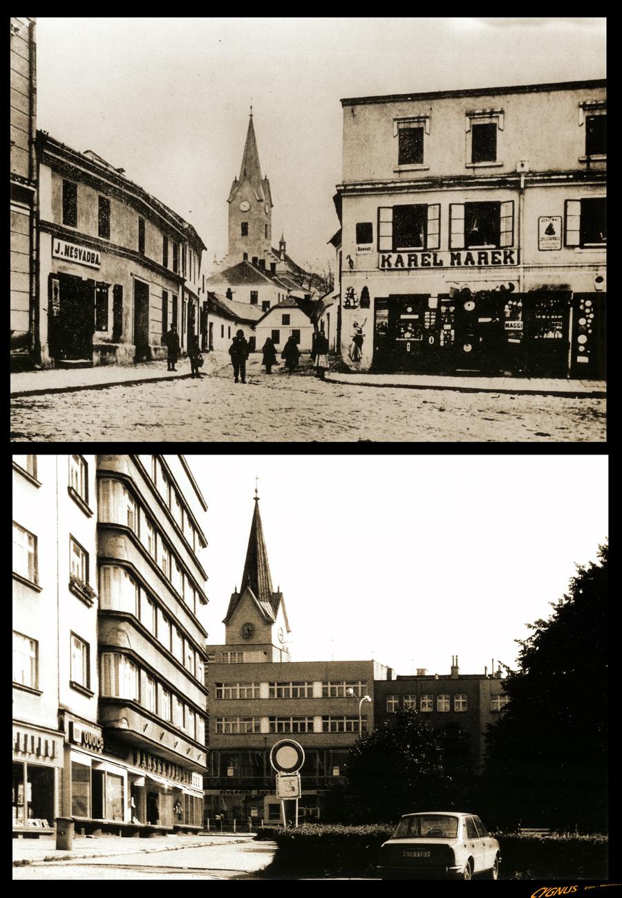 náměstí míru - ulice školní-kostelní
